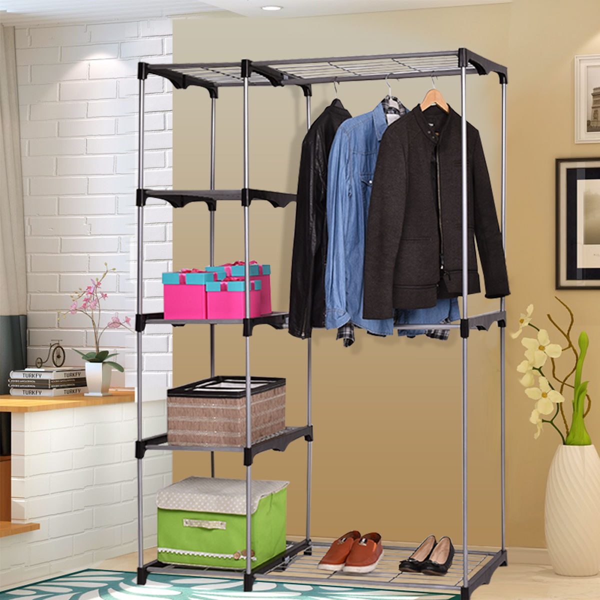 Attractive Costway Closet Organizer Storage Rack Portable Wardrobe Garment Hanger  Double Rod Shelf