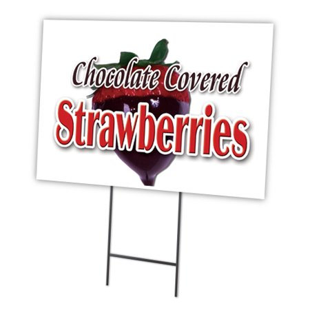 Chocolate Covered Strawberries 12 X16  Yard Sign   Stake Outdoor Plastic