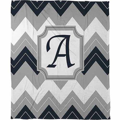 Thumbprintz Chevron Monogram Fleece Throw, Blue