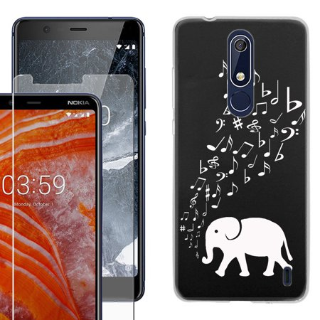 Phone Case for Nokia 3.1 PLUS, Slim-Fit TPU Case with Tempered Glass Screen Protector, by OneToughShield ® - Elephant (Nokia Best Music Phone)