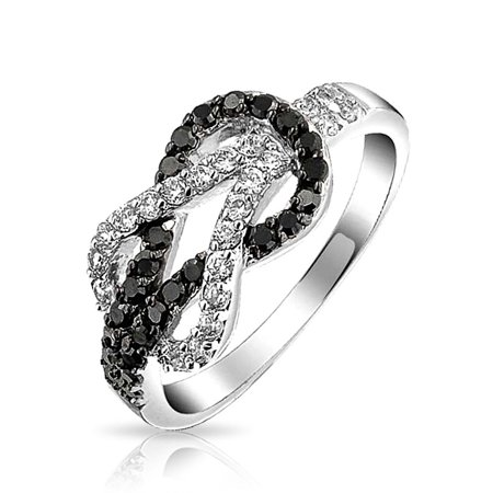 Cubic Zirconia Two Tone Black White Pave CZ Love Knot Infinity Ring Band For Women For Girlfriend Silver Plated - Plated Love Knot