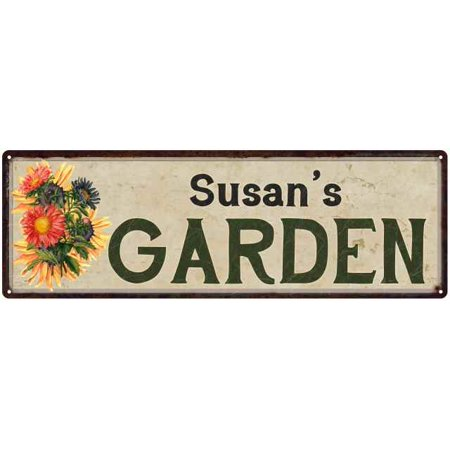 Susan's Garden Personalized Flower Chic Decor 6x18 Sign Gift 206180017011 ()