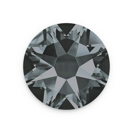 Swarovski Xilion Rose Flat Back 2028 4.7mm Crystal Silver Night (Package of (Swarovski Crystals Glue)