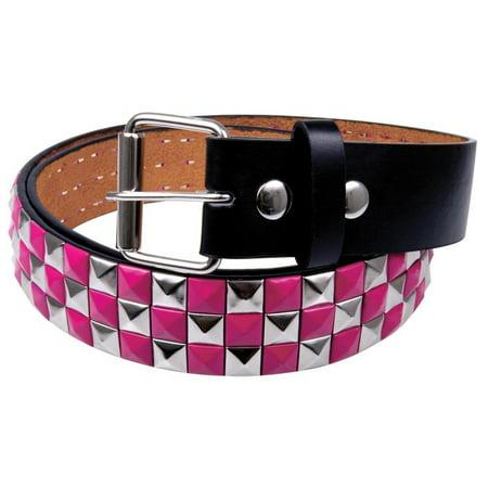 Pink Pyramid Stud Belt (Pink Checker Studded Leather)