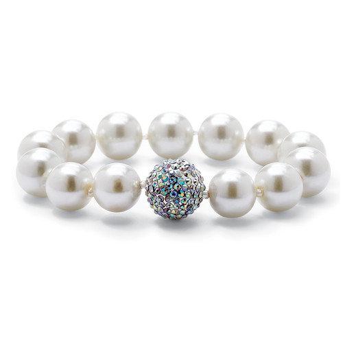 Palm Beach Jewelry Black Ruthenium Simulated Pearl/Crystal Bracelet