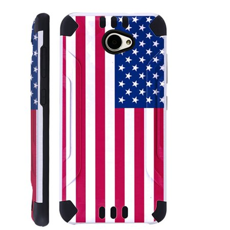 For Huawei Ascend XT2 / Huawei Ascend XT 2 / Huawei Elate 4G Case Brushed Metal Texture Hybrid TPU KombatGuard Phone Cover (American US Flag)](body glove for the huawei ascend xt)