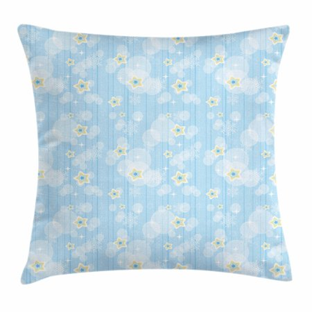 Cute Baby Themes (Winter Throw Pillow Cushion Cover, Cute Kids Baby Pattern Night Sky with Soft Colored Stars New Year Theme, Decorative Square Accent Pillow Case, 18 X 18 Inches, Baby Blue Yellow)