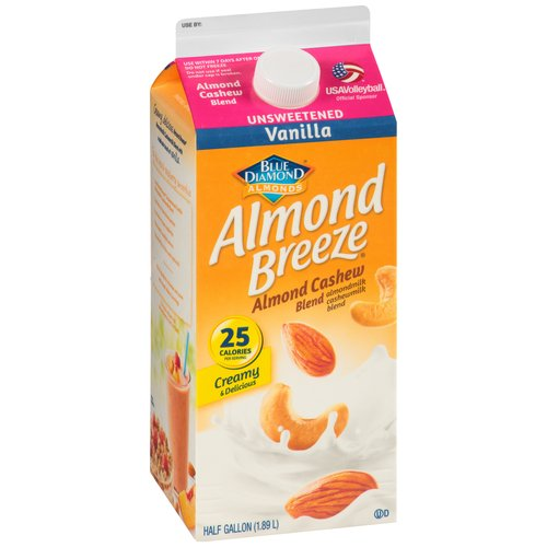 Almond Breeze Unsweetened Vanilla Almond Cashew Milk Blend, Half Gallon