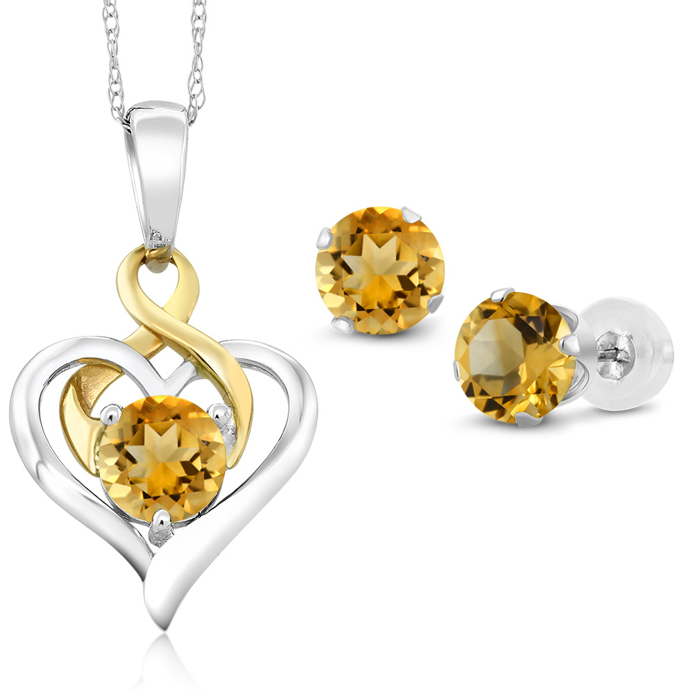 10K Two Tone Gold 1.85 Ct Round Yellow Citrine Pendant Earrings Set by