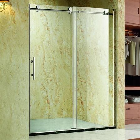 Homcom Frameless Glass Sliding Shower Door Polished Stainless 48