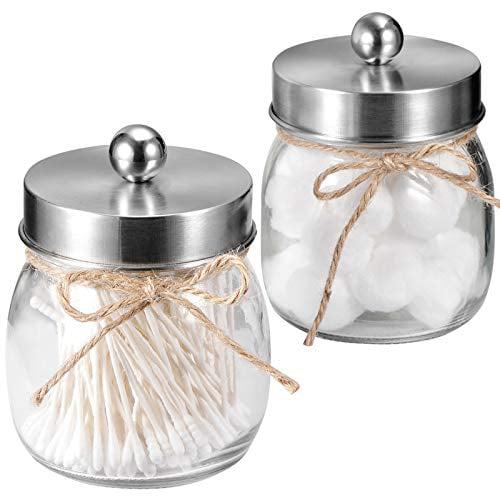 Sheechung Apothecary Jars Set Mason Jar Decor Bathroom Vanity Storage Organizer Canister Glass Qtip Holder Dispenser For Qtips Cotton Swabs Ball Stainless Steel Lid Brushed Nickel 2 Pack Walmart Com Walmart Com