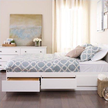 Prepac Monterey White Queen Platform Storage Bed