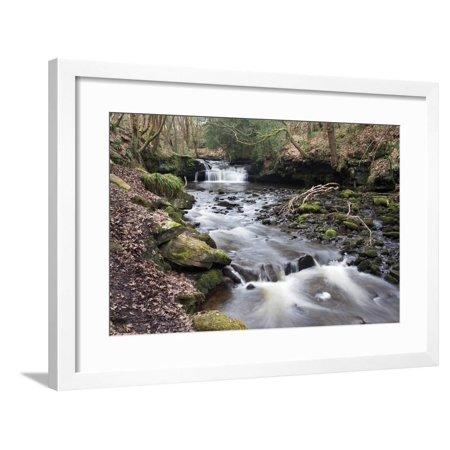 Waterfall on Harden Beck in Goitstock Wood, Cullingworth, Yorkshire, England, UK Framed Print Wall Art By Mark Sunderland ()