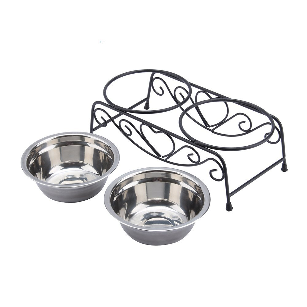 Stainless Steel Double Feeder Dishes Pet Cat Dog Puppy Food and Water Dish Bowls with Retro Iron Stand