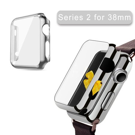 Apple Watch Series 2 3 Case 38Mm Iclover Full Cover Apple Watch Series 2 3 Nike Case Slim Hard Pc Plated Protective Bumper Cover   0 2Mm Shockproof Screen Protector For Iwatch 2016 2017  Silver