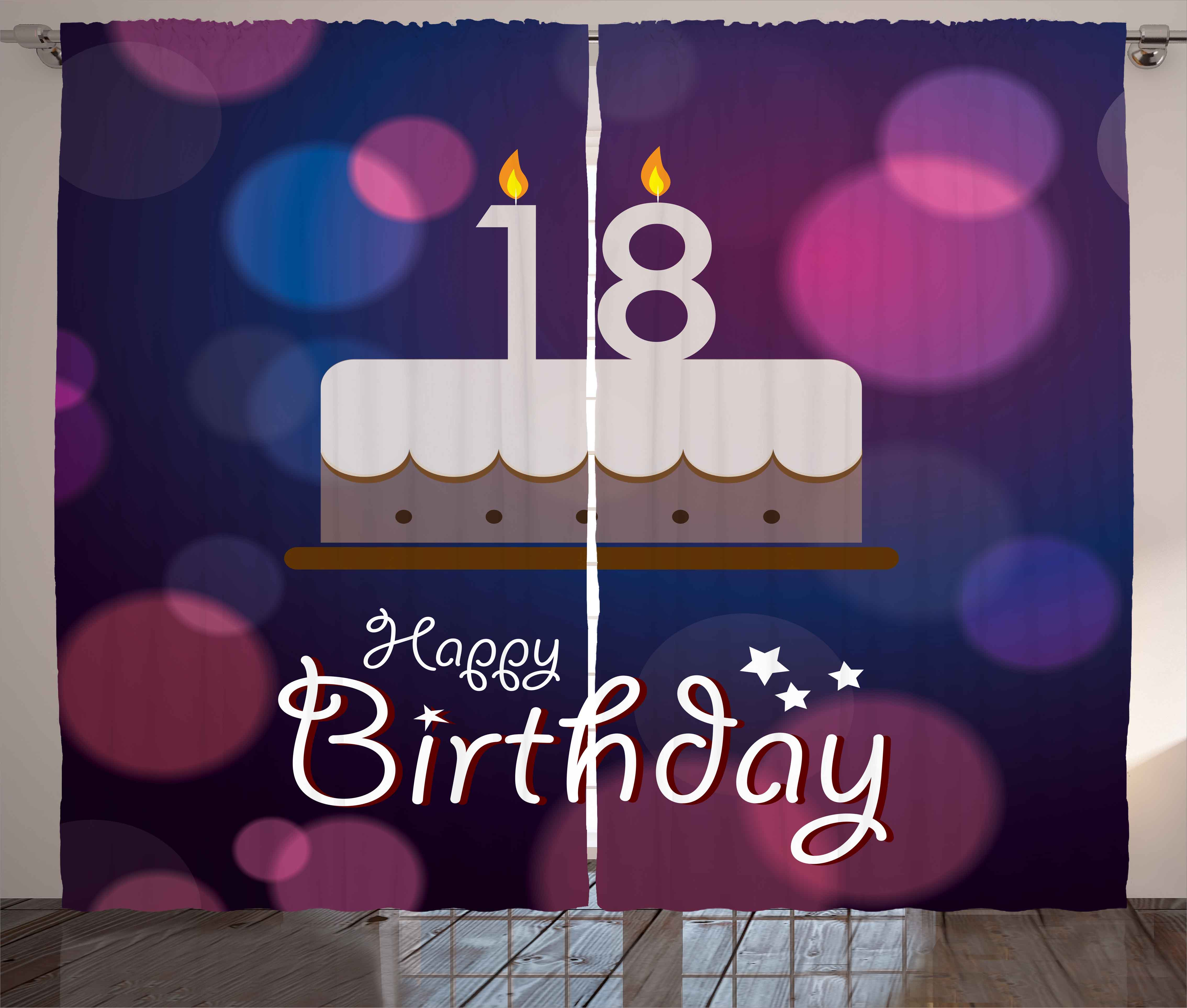 18th Birthday Decoration Curtains 2 Panels Set Cartoon Party Cake With Candles Abstract Backdrop Window Drapes For Living Room Bedroom