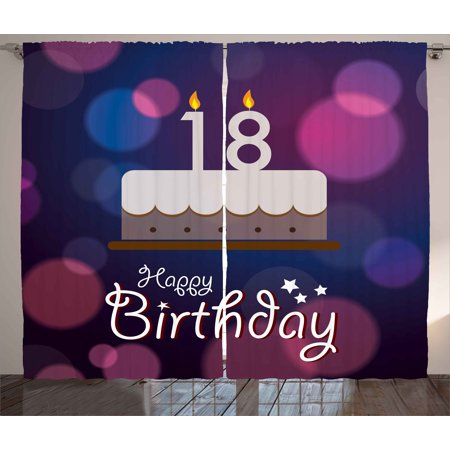 18th Birthday Decoration Curtains 2 Panels Set Cartoon Party Cake With Candles Abstract Backdrop