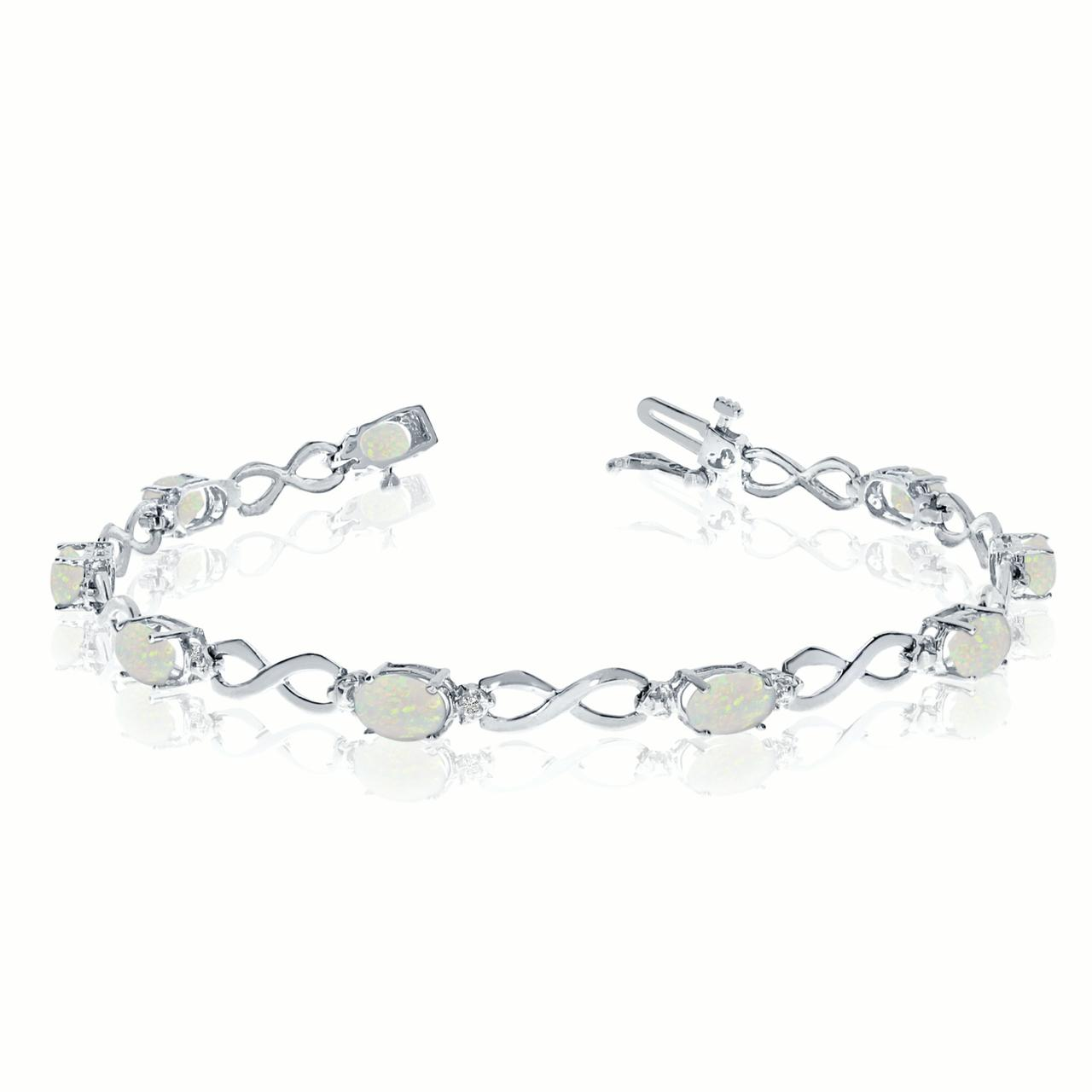 14K White Gold Oval Opal and Diamond Bracelet by LCD