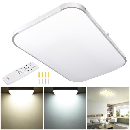 Athena Flush Mount Light (Yescom Modern Dimmable LED Ceiling Light 48/36/24W Rectangle/Square/Round w/ Flush Mount Remote Control Opt)