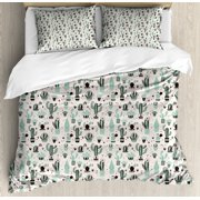 Cactus Duvet Cover Set, Doodle Style Cartoon Plant Arrangement with Geometrical Background Foliage, Decorative Bedding Set with Pillow Shams, Mint Black Beige, by Ambesonne