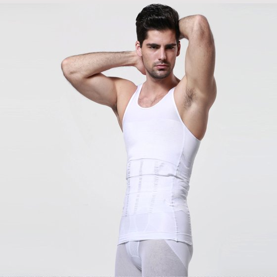 b07c4d51dbd Men s Body Shaper For Men Slimming Shirt Tummy Waist Vest lose Weight Sport  Training White Size L M XL