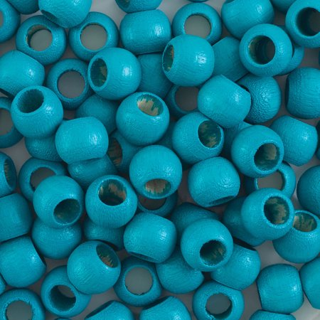 John Bead Euro Wood Beads - Turquoise, Round Large Hole, 8 mm x 6.5 mm, Pkg of 100