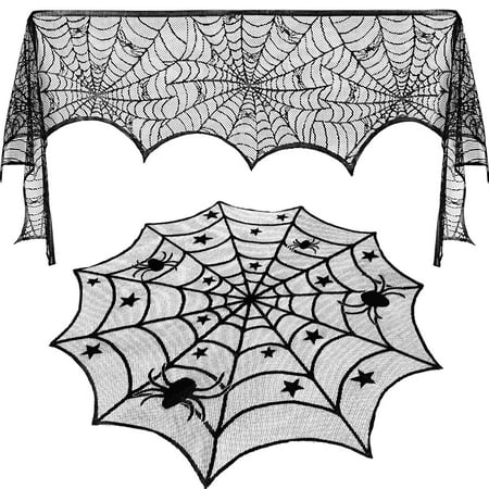 Round Lace Table Topper Black Spider Tablecloth and Fireplace Spider Decorations Lace Spiderweb Mantle Scarf Cover for Halloween Window, Dinner Party, Festival Party, Scary Movie