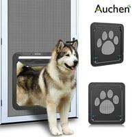 "Auchen Pet Screen Door, Black Dog Footprint Pattern Pet Door Window Screen, Magnetic Flap Screen Automatic Lockable Door Gate for Medium Dog and Cat ( XL Outside Size: 16""x14""x0.5"" )"