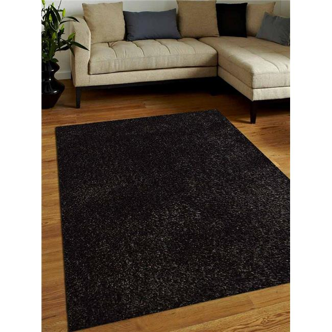 5 x 8 ft. Shag Solid Hand Tufted Polyester Area Rug, Black & Silver - image 1 de 1