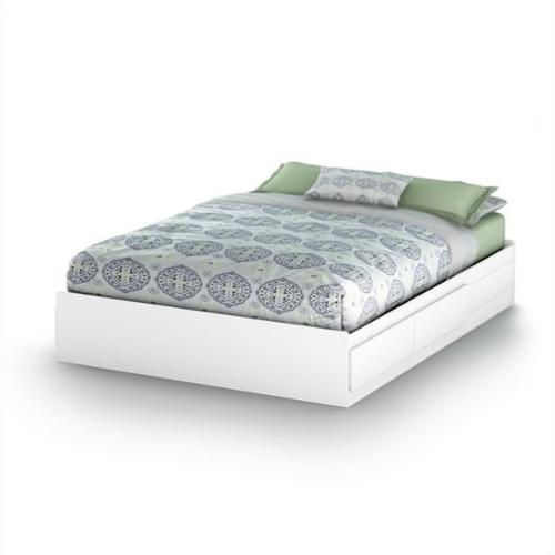 South Shore Vito Queen Size Mates Bed in Pure White