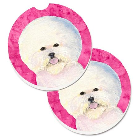Pink Bichon Frise Set of 2 Cup Holder Car Coaster - image 1 de 1