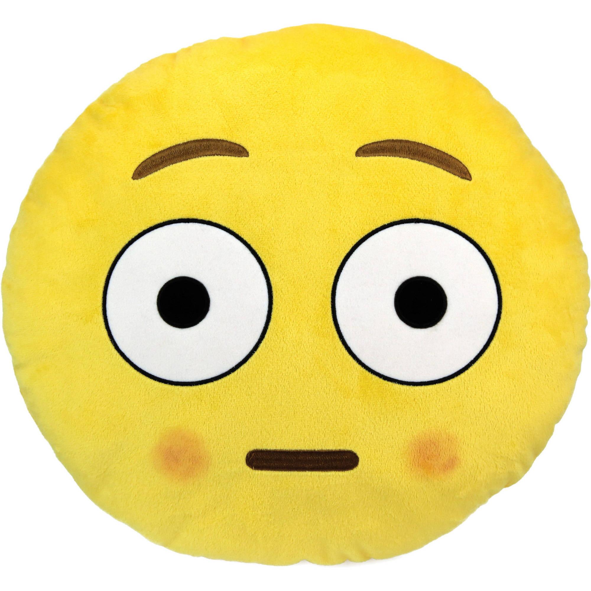 Emoji Large Pillow, Blushed Face