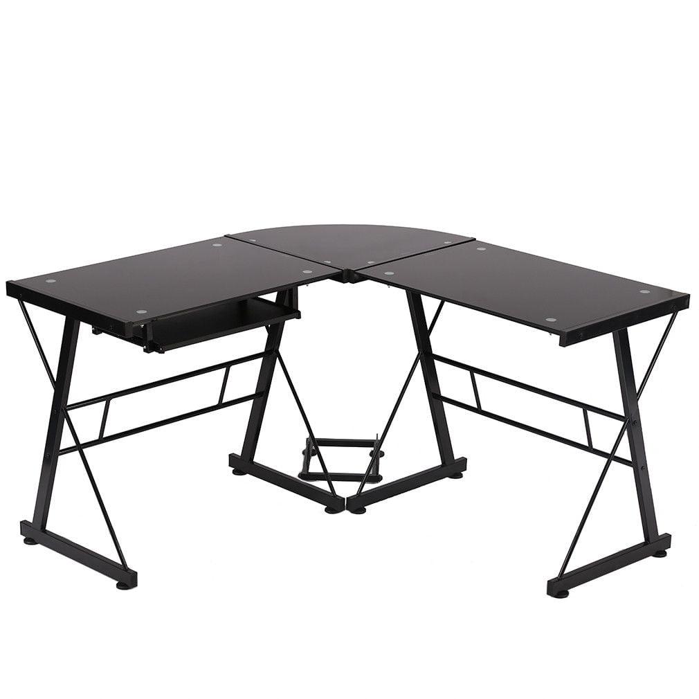 l shaped desk office computer glass corner desk with keyboard tray. Black Bedroom Furniture Sets. Home Design Ideas