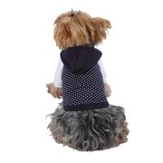Blue White Polka Dot Hoodie For Puppy Dog Clothing Clothes - Medium (Gift for Pet)