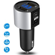 FM Transmitter Aux Bluetooth Modulator Kit Hands-free Car Audio MP3 Player With 3.4A Fast Charging Dual USB Car Charger