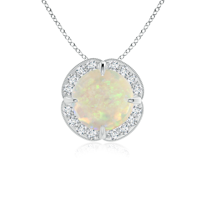Mother's Day Jewelry Necklace Claw Set Opal Clover Necklace Pendant with Diamond Halo in 950 Platinum (7mm Opal)... by Angara.com