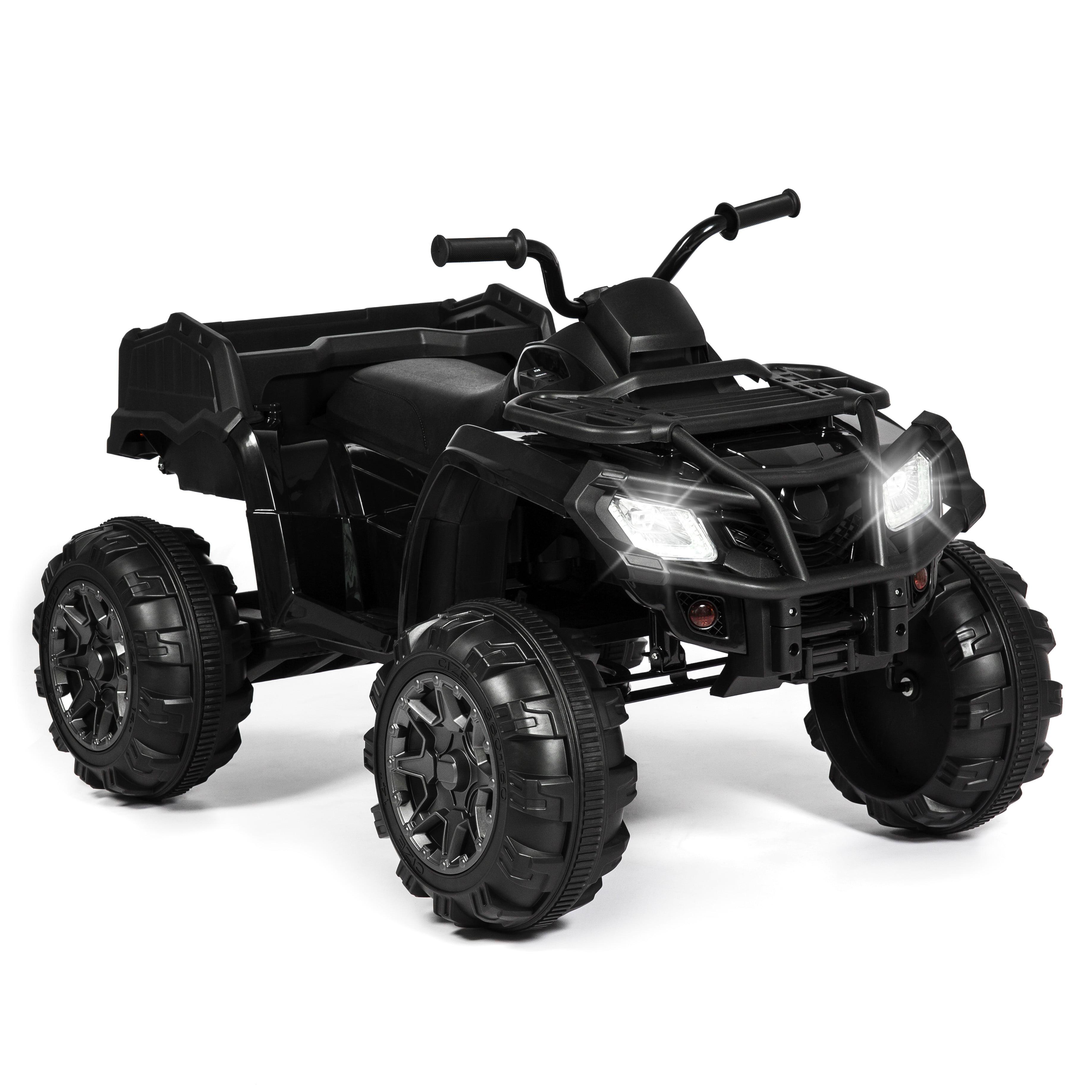 Best Choice Products 12V Kids Powered Large ATV Quad 4-Wheeler Ride-On Car w/ 2 Speeds, Spring Suspension, MP3, Lights, Storage - Black