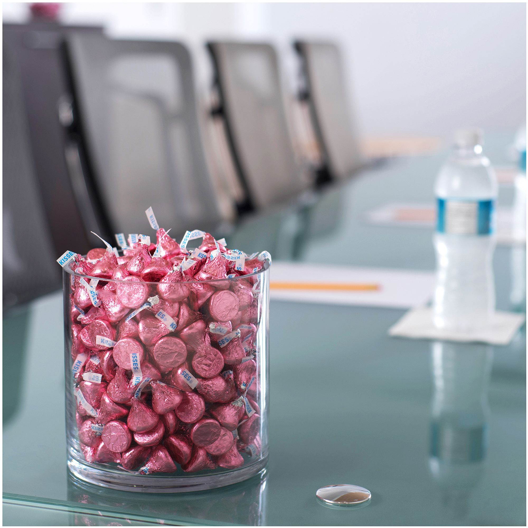 Kisses Milk Chocolate Candy Pink Foil, 4.1 lb - Online Only