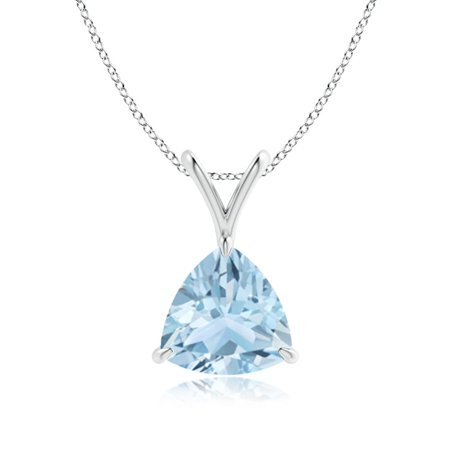 Valentine Jewelry Gift - Claw-Set Trillion Aquamarine V-Bale Pendant in 14K White Gold (8mm Aquamarine) - SP0751AQ-WG-AA-8