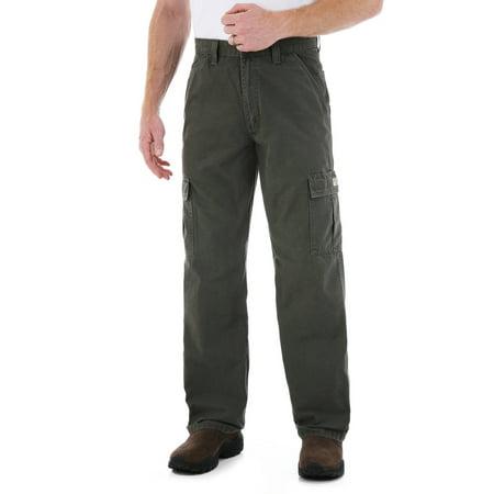 Wrangler Men's Rip-Stop Cargo Pants Pleats Relaxed Fit Khakis