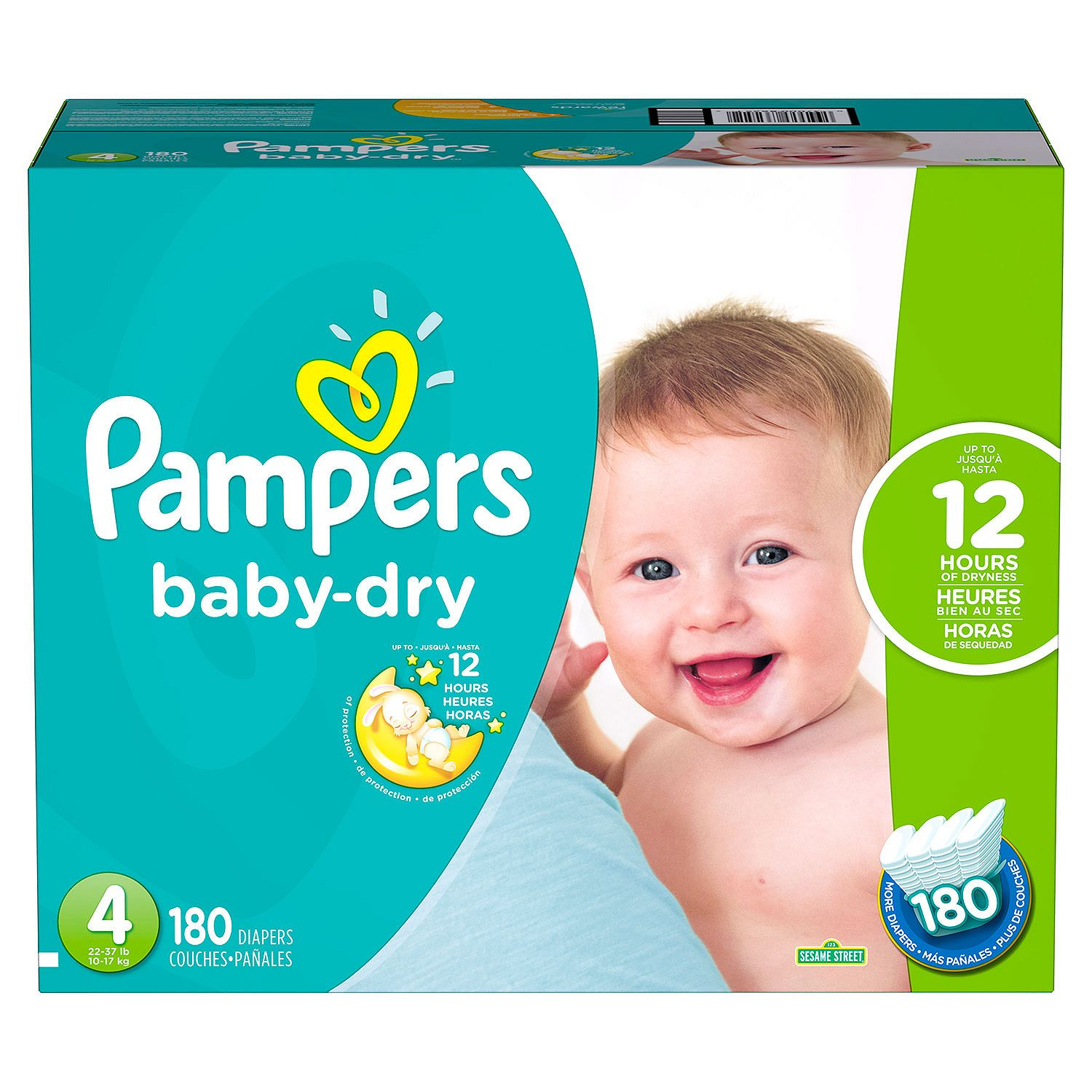 Pampers' Baby Dry Diapers Size 4 180 ct. ( Weight 22- 37 lb.) Bulk Qty, Free Shipping Comfortable, Soft, No... by Branded Diapers