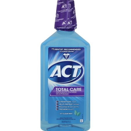 - ACT® Total Care Anticavity Fluoride Icy Clean Mint Mouthwash, 33.8oz