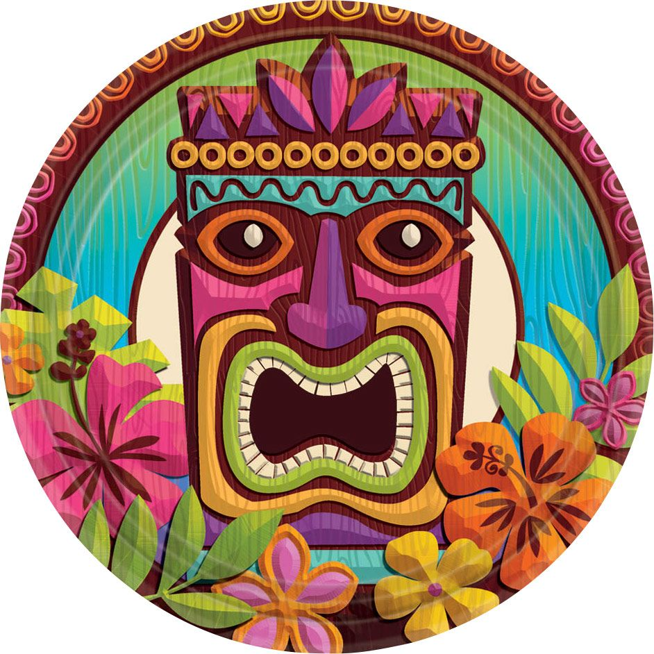 "Tropical Tiki 7"" Cake Plates (60 Pack) - Party Supplies"