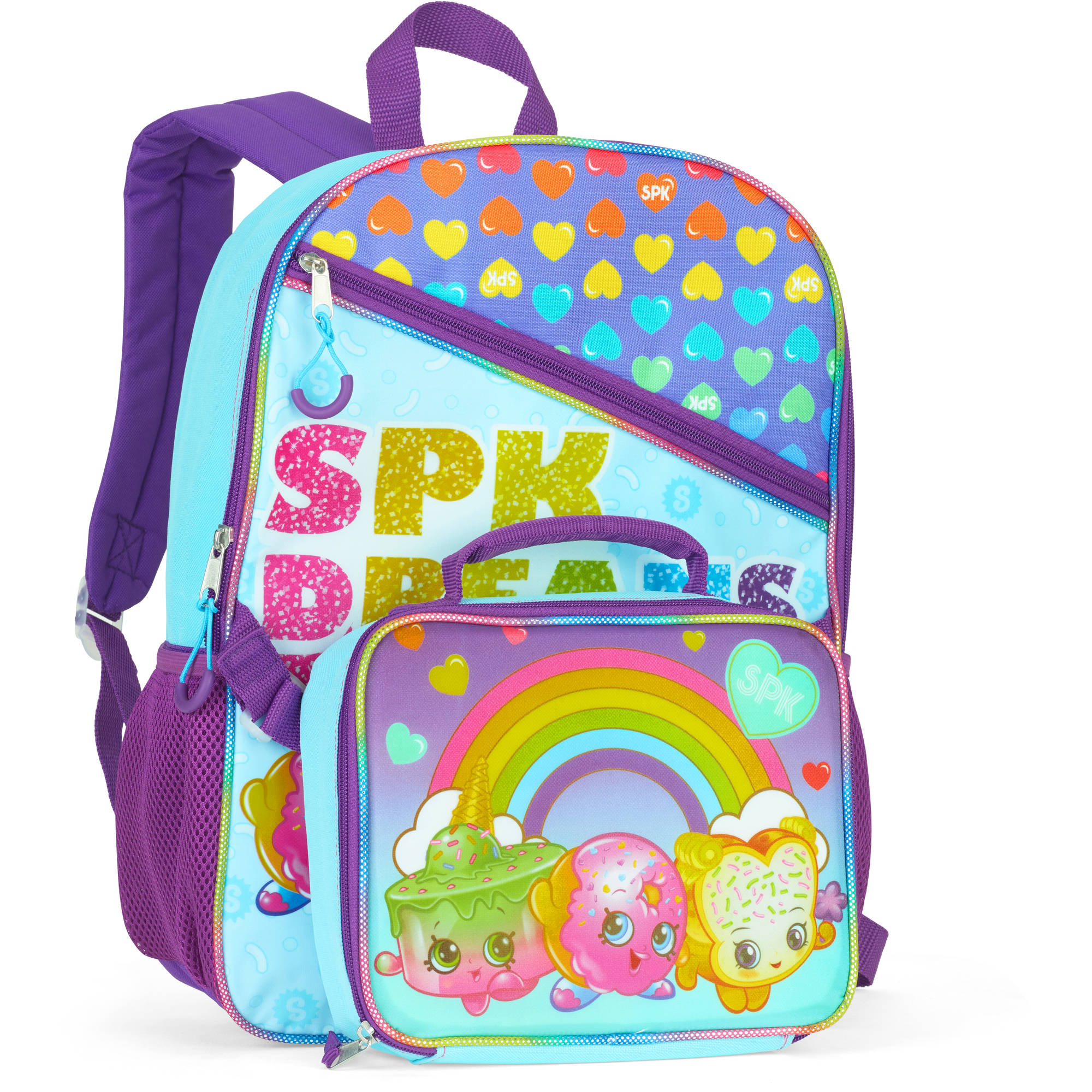 "Rainbow Shopkins 16"" Full-Size Backpack With Detachable Lunch Bag"
