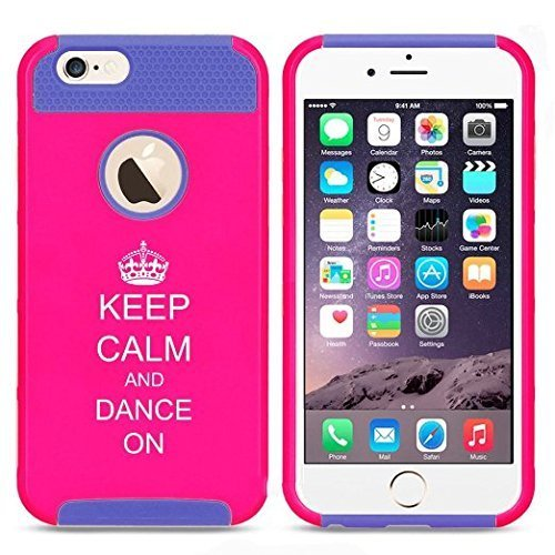 Apple iPhone 6 Plus / 6s Plus Hybrid Shockproof Impact Hard Cover / Soft Silicone Rubber Inside Case Keep Calm and Dance On with Crown (Hot Pink-Blue),MIP