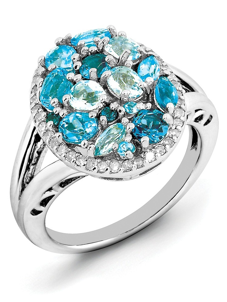 925 Sterling Silver (0.2cttw) Diamond and Blue Topaz Ring Size-6 by