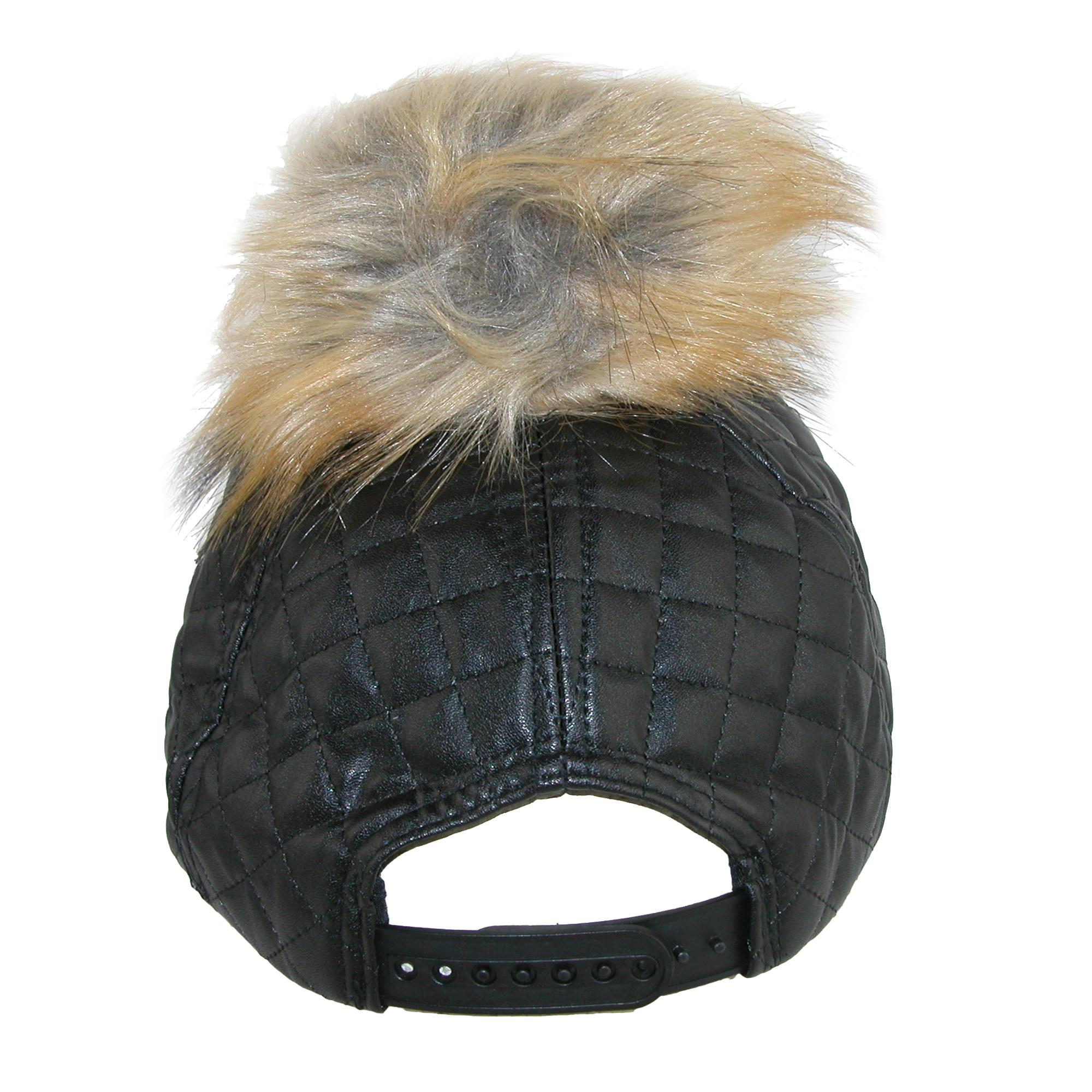 Pia Rossini Women's Quilted PU Cap with Faux Fur Detachable Pom Pom - image 2 of 4