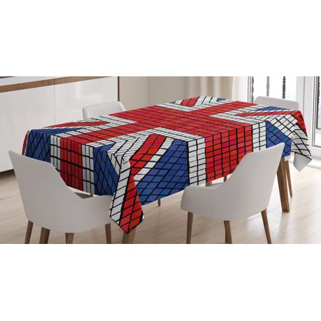 Union Jack Tablecloth, Mosaic Tiles Inspired Design British Flag National Identity Culture, Rectangular Table Cover for Dining Room Kitchen, 52 X 70 Inches, Royal Blue Red White, by Ambesonne - Union Jack Table Cloth