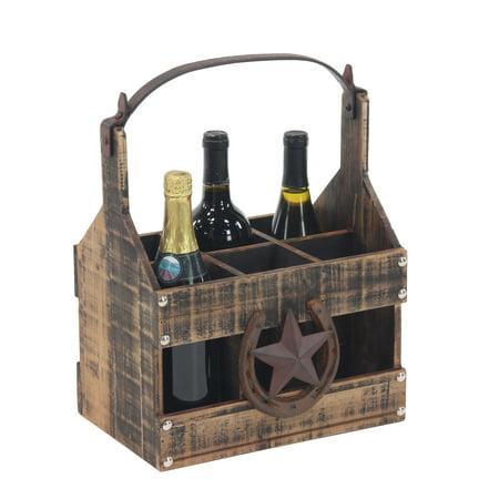 Decmode Farmhouse 6-Bottle Tabletop Wine Holder, Brown