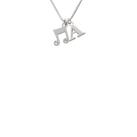 Silvertone Double Music Note - A - Initial Necklace